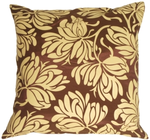 Bold Yellow Flowers on Chocolate Accent Pillow