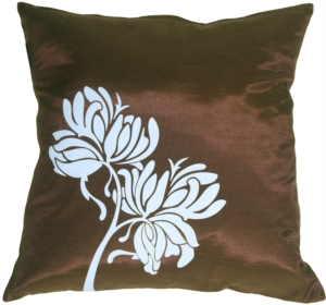 Blue Flowers on Chocolate Accent Pillow