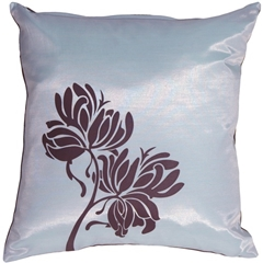 Chocolate Flowers on Blue Accent Pillow