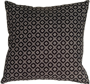 Delicate Floral Trellis on Black Accent Pillow