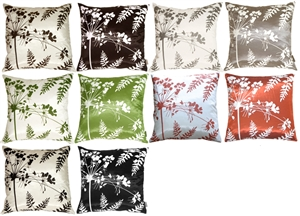 Spring Flower and Ferns Throw Pillows