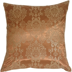 Copper with Copper Baroque Pattern Throw Pillow