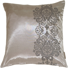Gray with Gray Baroque Scroll Throw Pillow