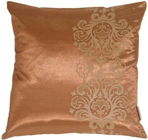 Copper with Copper Baroque Scroll Throw Pillow