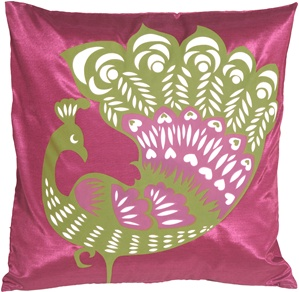 Proud Peacock Fuchsia Throw Pillow