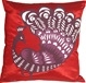 Proud Peacock Red Throw Pillow