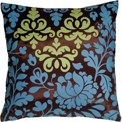 Bohemian Damask Brown, Blue and Olive Throw Pillow