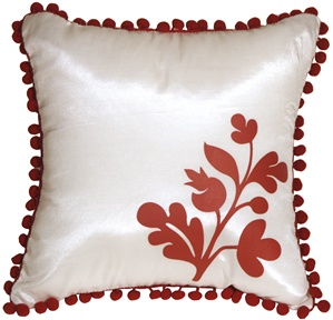 Bohemian Blossom, White and Red Throw Pillow
