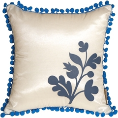 Bohemian Blossom, White and Blue Throw Pillow