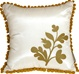 Bohemian Blossom, White and Ocher Throw Pillow
