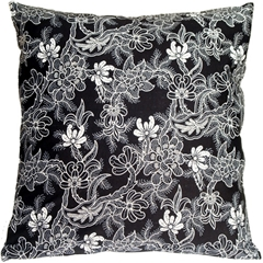 Victorian Floral on Black 20x20 Accent Pillow