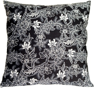 Delicate Floral on Black 20x20 Throw Pillow
