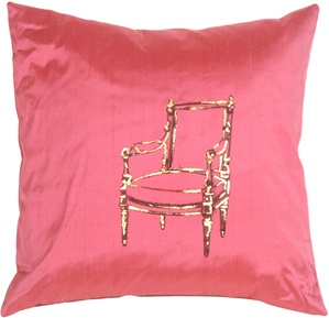 Bergere Chair on Deep Pink Silk RT Throw Pillow