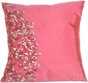 Scroll on Deep Pink Silk LT Throw Pillow