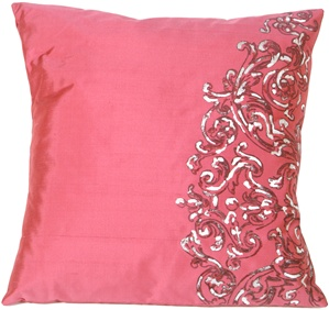 Scroll on Deep Pink Silk RT Throw Pillow