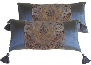 Damask Hurricane Blue and Teal Decorative Pillow