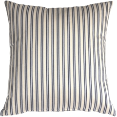 Catalina Ticking Blue 20X20 Throw Pillow