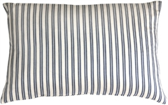 Catalina Ticking Blue 16x24 Throw Pillow