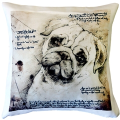 Pug 17x17 Dog Pillow