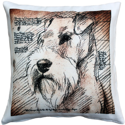 Schnauzer Looking Left Dog Pillow
