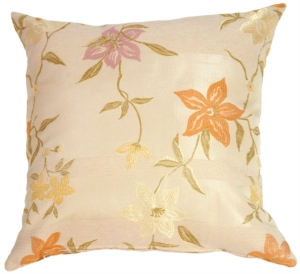 Textured Flowers in Rich Cream Accent Pillow