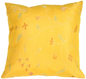 Random Flowers in Sunflower Yellow Accent Pillow