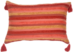 Chenille Stripes in Raspberry and Caramel Accent Pillow