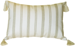 Cream and Chenille Stripes Rectangular Accent Pillow