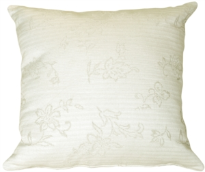 Woven Cream and Floral Square Accent Pillow