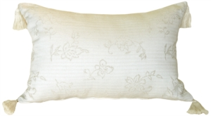 Woven Cream and Floral Rectangular Accent Pillow