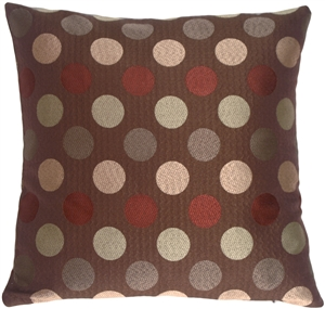Chocolate Multicolor Dots Decorative Pillow