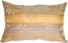 Beige Floral on Stripes Rectangular Decorative Pillow
