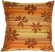 Brown Floral on Stripes Square Decorative Pillow