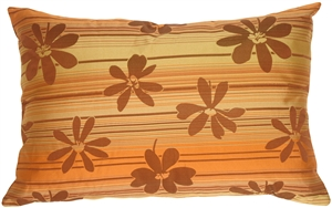 Brown Floral on Stripes Rectangular Decorative Pillow