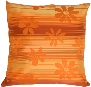 Orange Floral on Stripes Square Decorative Pillow