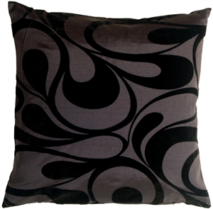 "Dramatic Swirls Gray 19"" Square Decorative Pillow"
