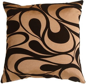 "Dramatic Swirls Gold 19"" Square Decorative Pillow"