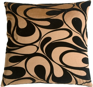 "Dramatic Swirls Gold 24"" Square Decorative Pillow"