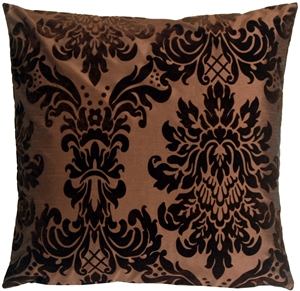 Flocked Velvet Damask Brown Decorative Accent Pillow