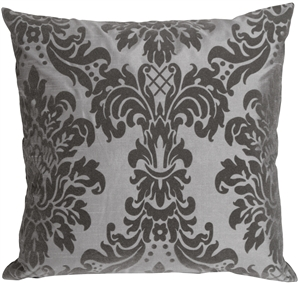 Flocked Velvet Damask Gray Decorative Accent Pillow
