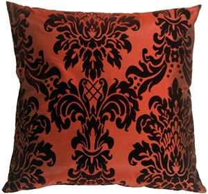 Flocked Velvet Damask Red Decorative Accent Pillow