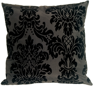 Flocked Velvet Damask Black Decorative Accent Pillow