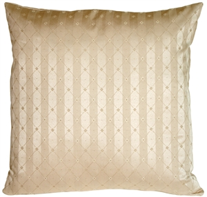 Manhattan Stripes in Beige Square Throw Pillow