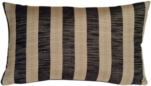 Classic Stripes in Charcoal and Beige Rectangular Accent Pillow