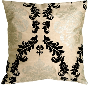 French Damask Beige Decorative Toss Pillow
