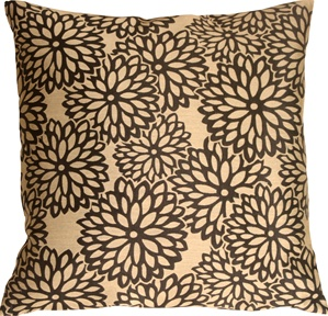 Floral Bloom in Beige and Black Throw Pillow