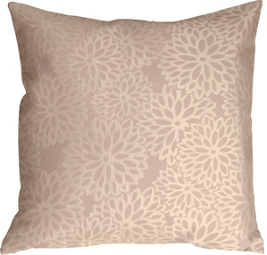 Floral Bloom in Cream and Beige Throw Pillow