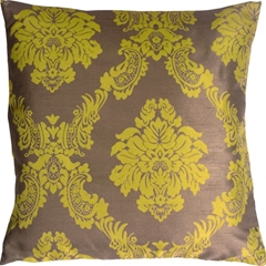 Contemporary Damask in Green and Taupe Throw Pillow
