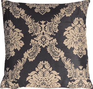 Contemporary Damask in Black and Beige Throw Pillow