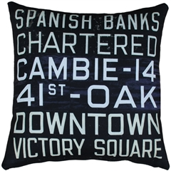 Vancouver Bus Scroll 20x20 Throw Pillow